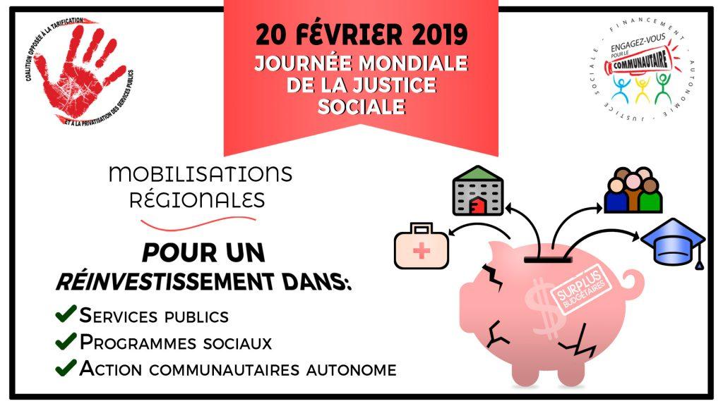 20 février Journée Mondiale de la justice sociale : Pour un réinvestissement dans les services publics, les programmes sociaux et l'action communautaire autonome contre les compressions